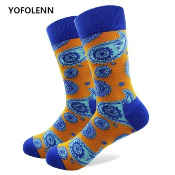 1 Pair Paisley Pattern Socks with High Quality Combed Cotton Fabric Long Tube Happy Funny Wedding Casual Colored Socks Crazy