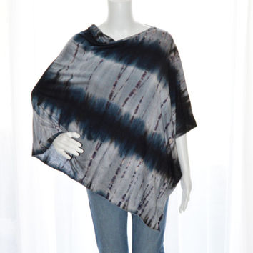 Tie Dye Poncho/ Nursing Poncho / Nursing Cover/ Lightweight Shawl/ One shoulder tunic top / Boho Style / New Mom Gift