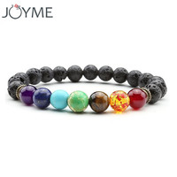 Joyme 7 Chakra Bracelet Men Black Lava Healing Balance Beads Reiki Buddha Prayer Natural Stone Yoga Bracelet For Women