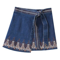 Blue Embroidery Pattern Wrap Front Denim  Mini Skirt