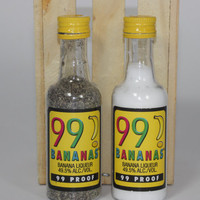99 Banana Salt and Pepper Shaker, Upcycled Liquor Bottles