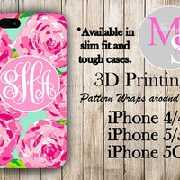 Monogram iPhone Case Personalized Phone Case Lilly Pulitzer Inspired Monogrammed iPhone Case, Iphone 4S, Iphone 4 iPhone 5S, iPhone 5C #2083