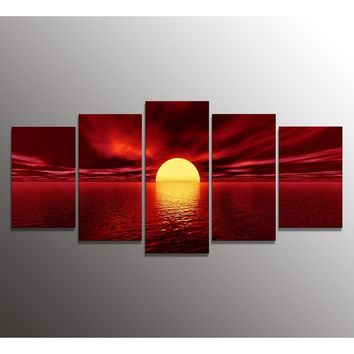 5 Pieces Wall Art Paintings of Red sun Landscape  Painting Pictures Print On Canvas The Picture For The Home Modern Decoration p