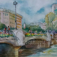 Sale Coleman Bridge, historical architecture building , original, Watercolor, Painting, 8 x 10, id20160922, not a print, Singapore