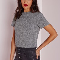 Missguided - Raw Edge Crop Top Grey Marl