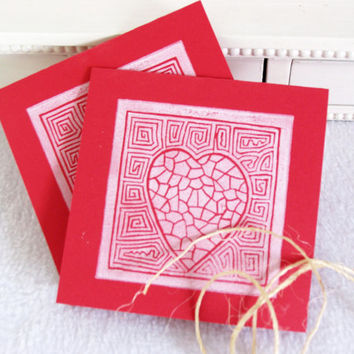 Heart Design Anniversary Card Set of 2 Cards, Block Printed Red and White Heart Card, Hand Printed, Love