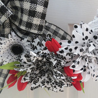 Red, Black and White Wreath, Country Wreath, Everyday Wreath, Winter Wreath,Office Wreath, Door Wreath, Holiday Wreath, Christmas wreath