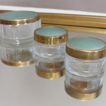 Glass Dresser Box Powder Box Glass Box with Gold and Blue Art Deco Style Decor Lotion Container Powder Container Vanity Tray Gift for Her