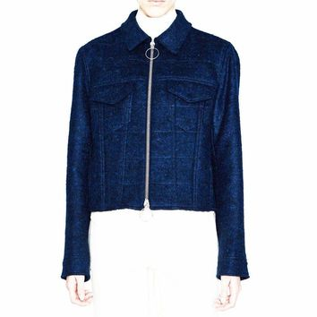 Acne Studios Thea  Dark Blue Wool-Blend Tweed Jacket