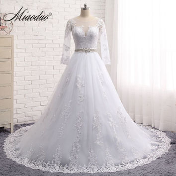 Vestido de noiva Vintage Long Sleeves Wedding Dresses Sheer Tulle Back Lace Appliques Wedding Gowns Bead Wedding Dress 2017