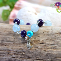 Mermaid Bracelet from Hawaii, gemstone jewelry for beach brides & Hawaiian island weddings