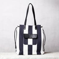 Nautical canvas leather tote bag. Blue/ white beach bag. Cotton and leather tote.
