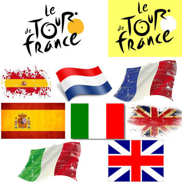 New SALE Cycling Sticker Mountain Bike Skateboard Decal Bicycle Sticker Tour de France Italy England Spain Flag Racing Stickers