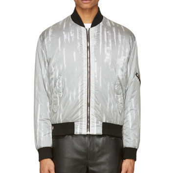 Mcq Alexander Mcqueen Grey And Black Nylon Layered Bomber Jacket