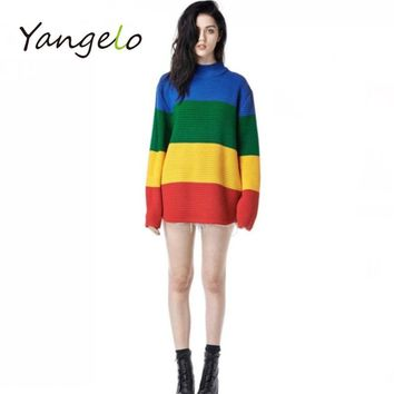 2017 winter loose sweater female rainbow gradient wide stripe full sleeve high collar scalp knitting