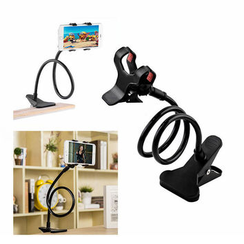 2016 New Universal Long Arm Lazy Mobile Phone Gooseneck Stand Holder Stents Flexible Bed Desk Table Clip Bracket For iphone
