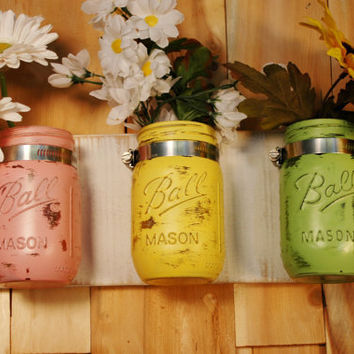 Pretty Pastels mason jar trio on whitewashed recycled board