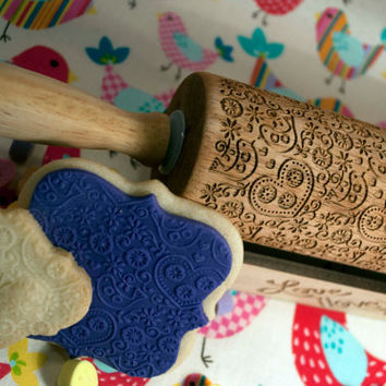 Folk Art Birds and Hearts design, Rolling Pin - laser engraved embossing pin! Includes *BONUS* custom design display holder too!