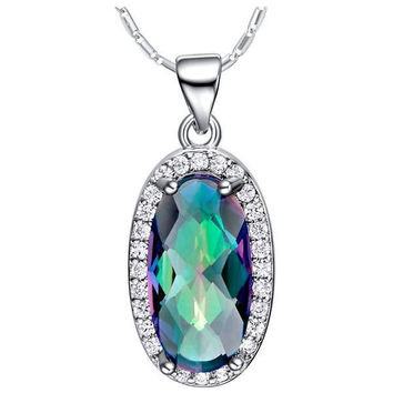 Colorful Silver Accessories Multi-color Gemstone 925 Necklace = 5839632257