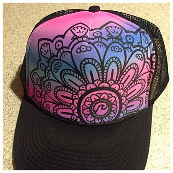 Handpainted purple teal ombre mandala trucker hat