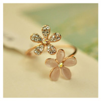 Women's Opal Double Daisy Flower Resizable Ring