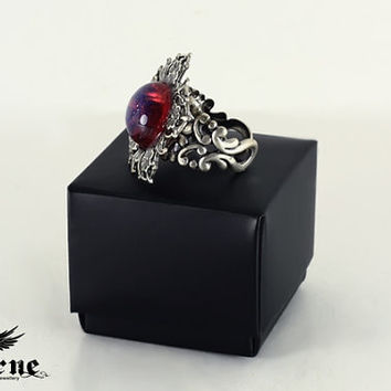 Flower Victorian Ring with Dragon's Breath Opal Stone - Gothic Victorian Jewelry