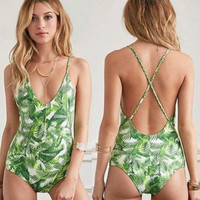 Sexy Backless Green Leaf Print One Piece Swimsuit Swimwear
