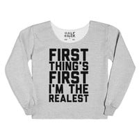First Thing's First-Female Heather Grey T-Shirt