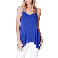 Double Layer Sleeveless Tunic Top with Asymmetrical Hem Line