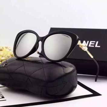 Original Chanel Polarized Lenses Square Fall Sunglasses With Pearl 8062 - 53