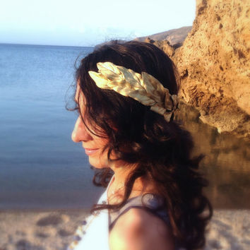 Gold leaf Crown, Gold Headband, Woodland Headpiece,  Greek Goddess, flowers headband, Gold Crown, Hair Wreath, Gold Leaves, hipp
