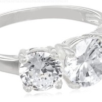 Sterling Silver Round Cut Three-Stone Cubic Zirconia Ring (2.3 cttw)
