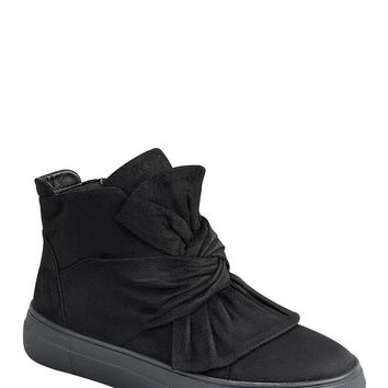 Black Slip On Bow Sneakers