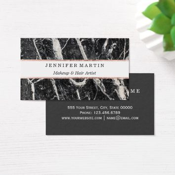 Modern Black White Marble and Rose Gold Outline Business Card