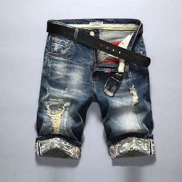 Denim Summer Men Korean Slim Ripped Holes Stretch Shorts [10699374531]
