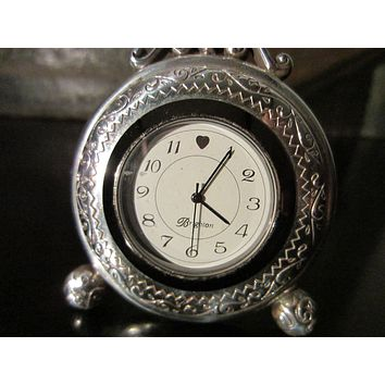 Brighton Pewter Heart Embossed Miniature Quartz Desk Clock