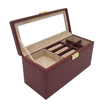 "Cordays Compact Sized Safety Deposit ""Premium Quality"" Jewelry Box with Mirror & 2 Liftout Trays and Lock - Hand Crafted in Marsala Saffiano Leather CDL-10031"