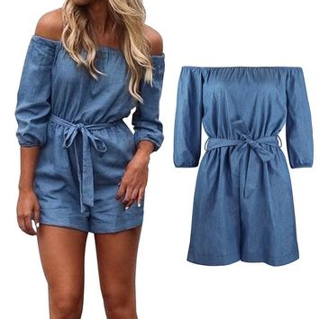 Womens Ladies Summer Off Shoulder Playsuit Romper Denim Shorts Jumpsuit Trousers