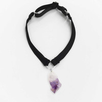 New Moon Choker — Amethyst, Rose or Clear Quartz with Silk or Velvet Band