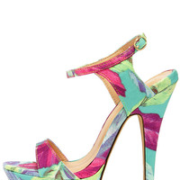Electric Cute Blue Multi Print Platform Heels