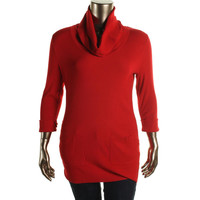 INC Womens Plus Ribbed Knit 3/4 Sleeves Funnel-Neck Sweater