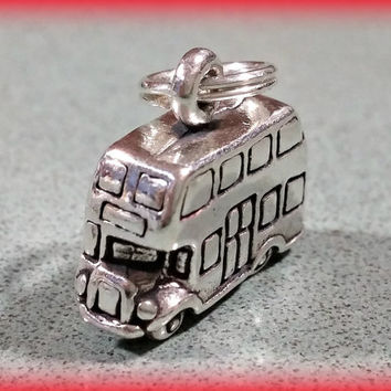 Vintage Sterling Silver Charm Double Decker Bus Tour Bus  European Bus Fun Charm Bracelet Charm or Necklace Pendant Fun Gift