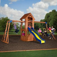 Backyard Discovery Parkway Wooden Swing Set - Walmart.com