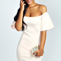 Ruby Off The Shoulder Ruffle Sleeve Bodycon Dress