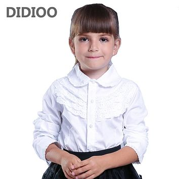 Girl Shirts Teenager Slim Waist Blouse Cotton Clothes Spring Kids White Clothing Fashion Infant Tops School Uniforms Shirts