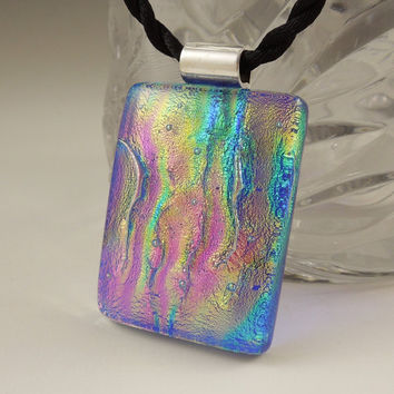 Dichroic Fused Glass Pendant And Earring Set - Dichroic Glass - Fused Glass, Dangle Earrings X3774