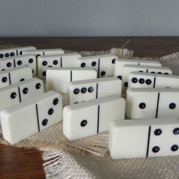 Vintage bakelite dominos, 15 large dominos, game pieces, jewelry supply, mixed media, altered art, black and white