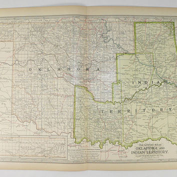 1899 Antique Indian Territory Map, Oklahoma Map, Vintage Art Map, Genealogy Map, US History Buff Gift, Vintage Geography Map, Wall Map