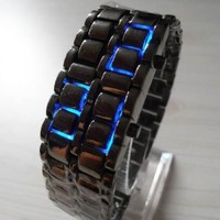 TOOGOO(R) Blue LED Digital Black Lava Style Wrist Watch Iron Metal Samurai Men