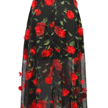 Black Rose Chiffon Maxi Skirt